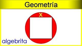 Área de sectores circulares con un cuadrado dentro de un círculo Geometría 250