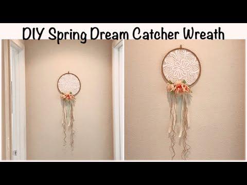 EASY DOLLAR TREE DIY SPRING WREATH | FARMHOUSE SHABBY CHIC DREAM CATCHER WREATH (Less than $4)