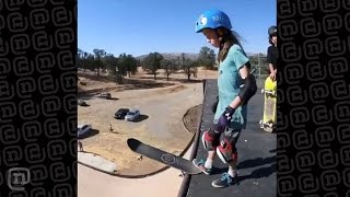 8-year-old Skateboarder Girl Drops In On MegaRamp