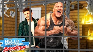 BAYWATCH - CAN THE ROCK AND ZAC EFRON ESCAPE THE HELLO NEIGHBORS BASEMENT, Modded Minecraft Gameplay