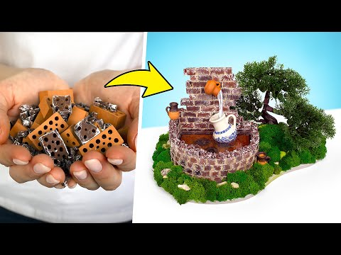 Как сделать маленький фонтанчик из мини-кирпичиков