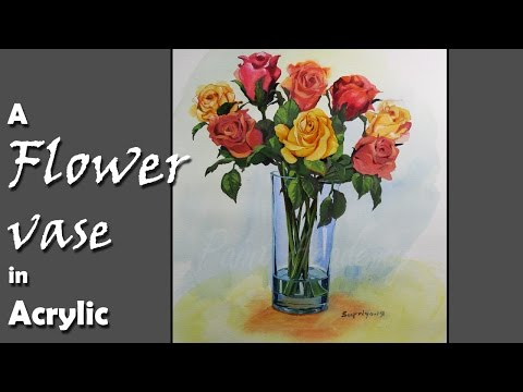 How to Paint Flowers in the Vase in Acrylic | step by step