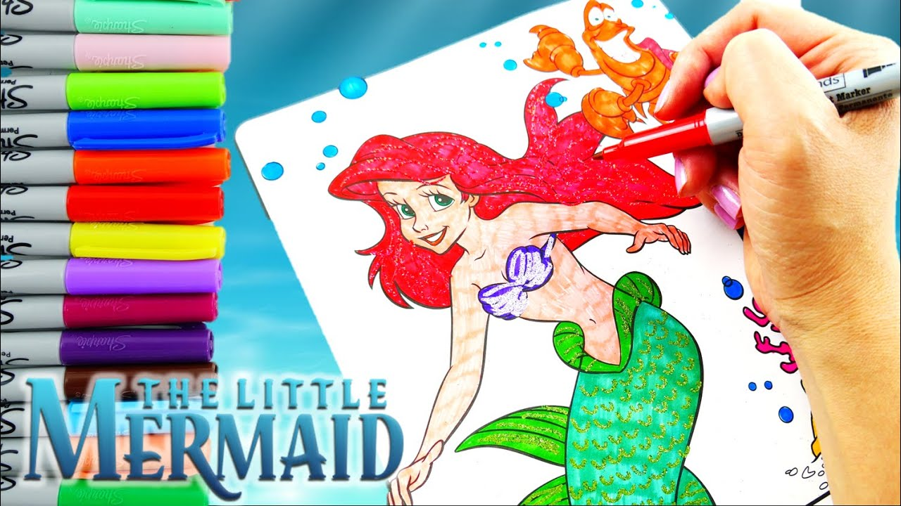 Disney Little Mermaid Ariel Coloring Pages Speed Coloring and 3D ...