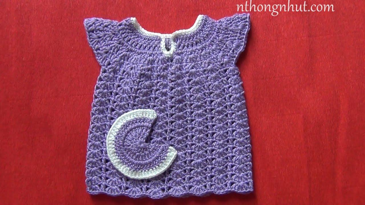 How to Crochet baby sweater (Eng sub) I Hướng dẫn móc váy cho bé gái kiểu con sò : bé sơ sinh