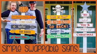 Fall DIY Front Porch Welcome Post with Changeable Signs