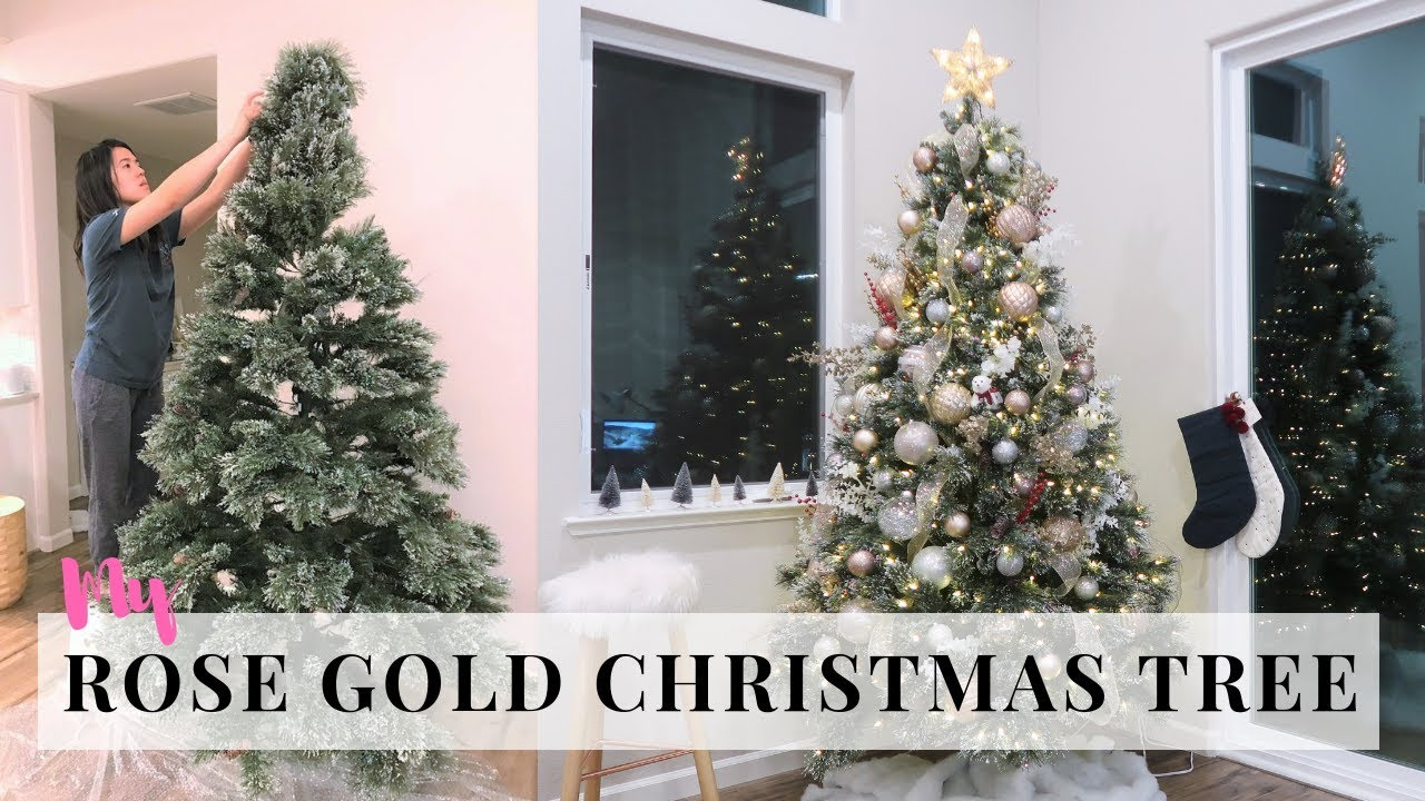 Decorating Christmas Tree Ornaments Haul Rose Gold Silver Tree Youtube
