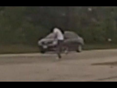Idiot runs across U.S. Route 150 in Illinois.