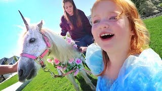 UNICORN in our BACKYARD?! Surprising Adley with her Favorite Dream in Real Life! (pet horse routine)