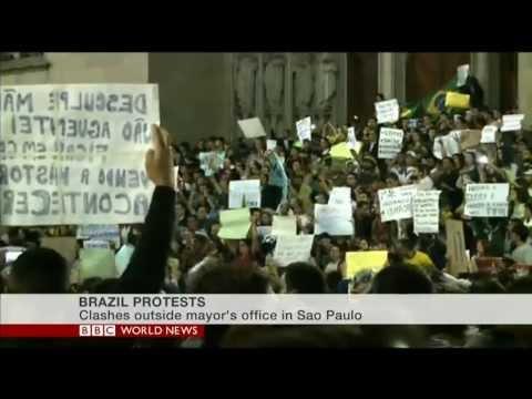 Brazilian student explains Brazil protests on BBC World News