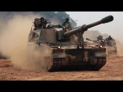 ROK Ministry Of National Defense - K-9 Thunder 155mm Self-Propelled Howitzer Firing Drill [1080p]