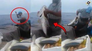 شاهدوا صياد مغربي إصطاد سمكة كبيرة ماشاء الله والعجيب أنه بإستخدام الخيط فقط