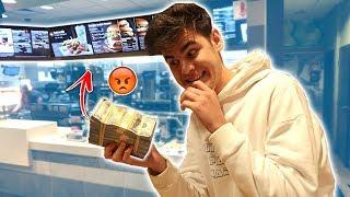 buying whole mcdonalds menu with fake 100 000 prank