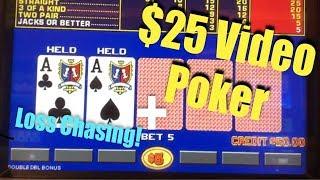 CHASING LOSES & $25 Video Poker (Gambling Vlog #30)