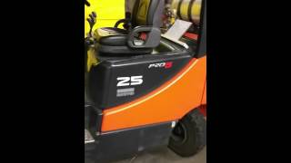 How to open forklift engine hatch