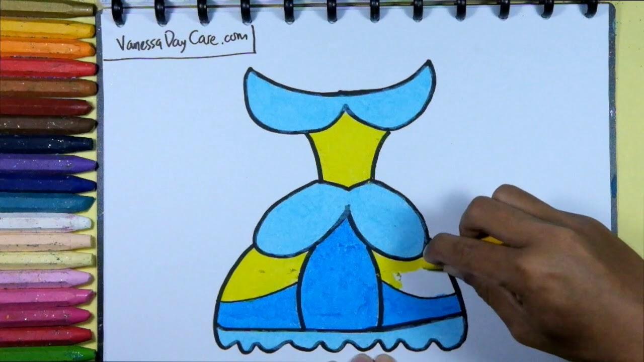 Menggambar Mewarnai Pakaian Princess Tutorial Menggambar Untuk Anak