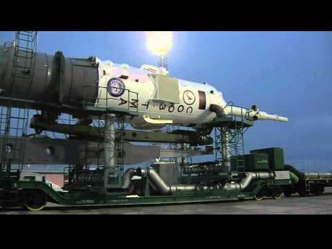 ISS Bound Spacecraft and Rocket, Rolled to Launch Pad