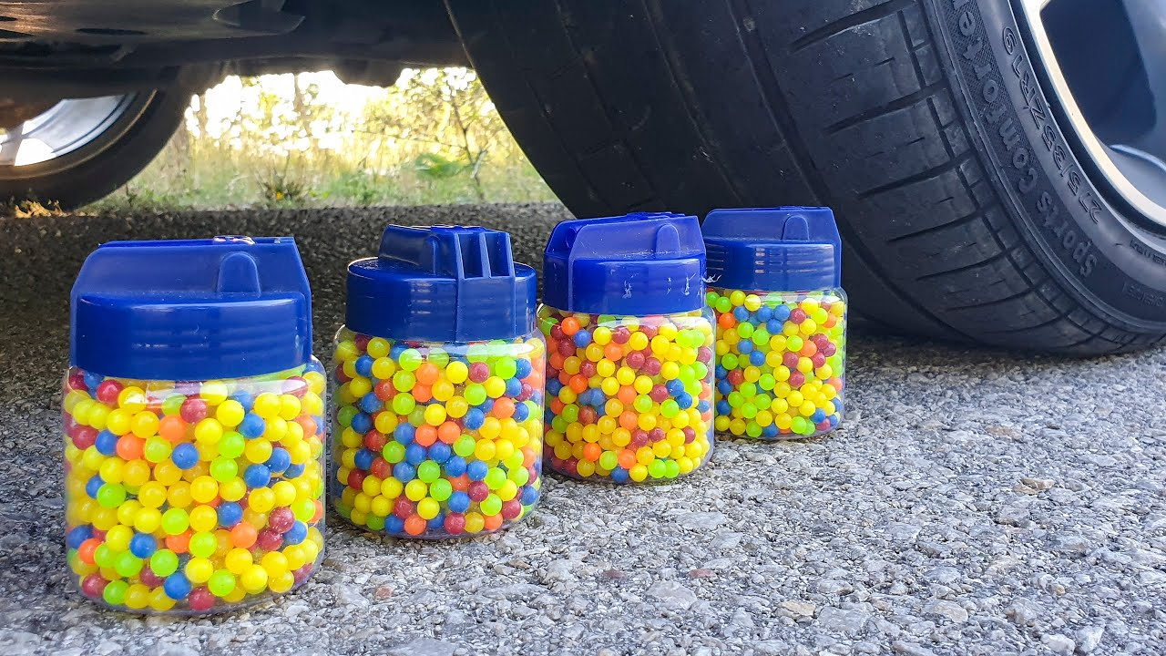 Crushing Crunchy & Soft Things by Car! EXPERIMENT CAR vs AIRSOFT BBs