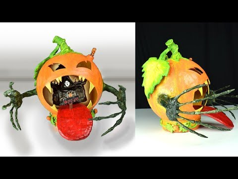 DIY Pumpkin using Balloon & Fairy House Using Coke Plastic Bottle | Paper Clay Tutorial