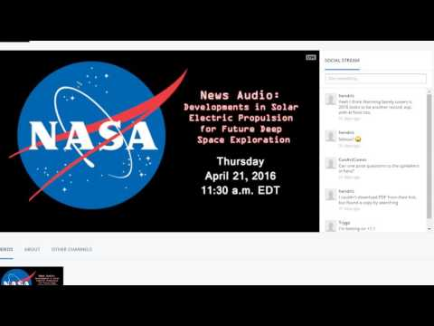 2016 04 21 Solar Electric Propulsion teleconference NASA News Audio