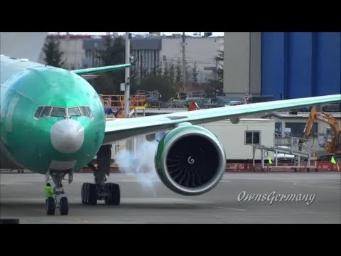 Turkmenistan Airlines 2nd Boeing 777-200 Engine Start Up & Take Off @ KPAE