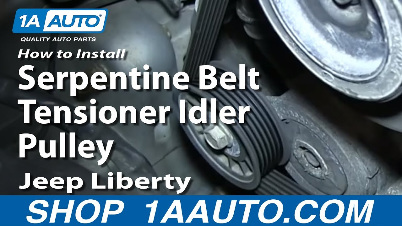 how to install replace serpentine belt tensioner idler pulley 3 7l 2004 13 jeep liberty youtube [ 1920 x 1080 Pixel ]