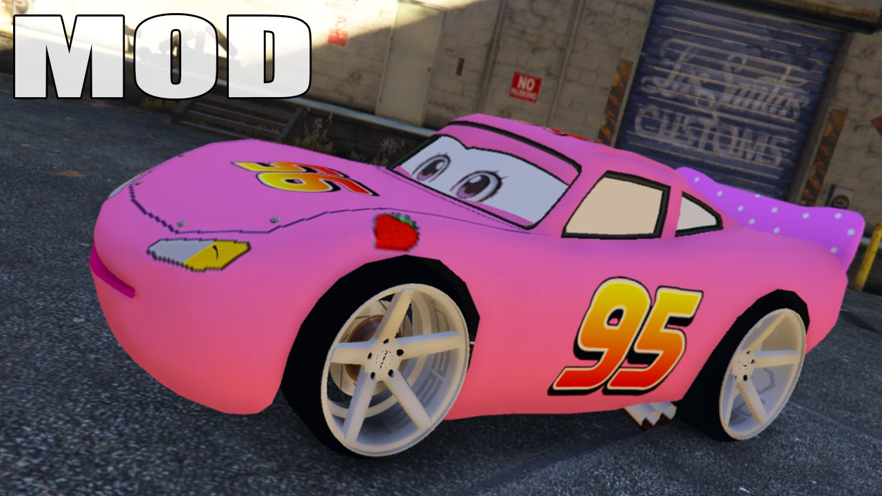 gta 5 mods disney cars pink lightning mcqueen disney. Black Bedroom Furniture Sets. Home Design Ideas