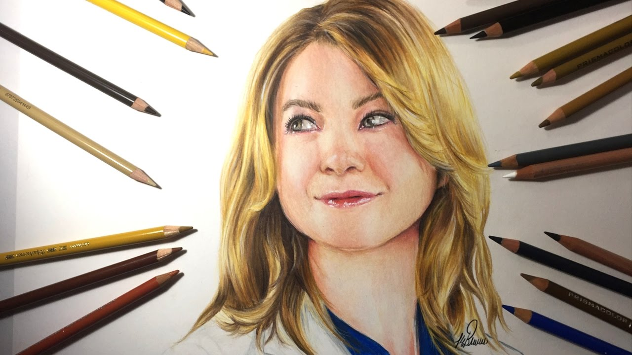 d446438fce4 Drawing Ellen Pompeo as Meredith Grey | Grey's Anatomy - YouTube
