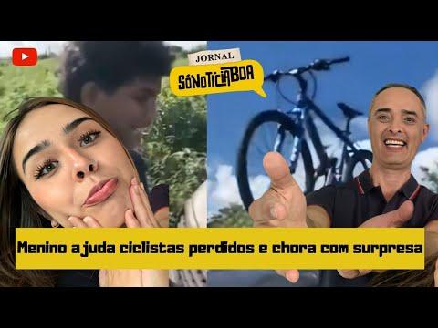 Menino ajuda ciclistas perdidos e chora com surpresa