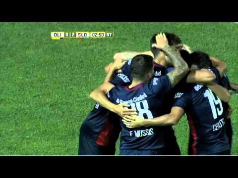 San Lorenzo le ganó a Olimpo con dos goles de Blandi y es líder de la zona