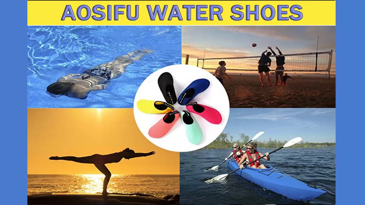 2c070069bbf0 AoSiFu Barefoot Water Shoes Aqua Socks Surf Pool Yoga Beach For Men And  Women