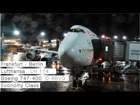 LUFTHANSA 747-400 FRANKFURT TO BERLIN | Flight Review | Economy Class