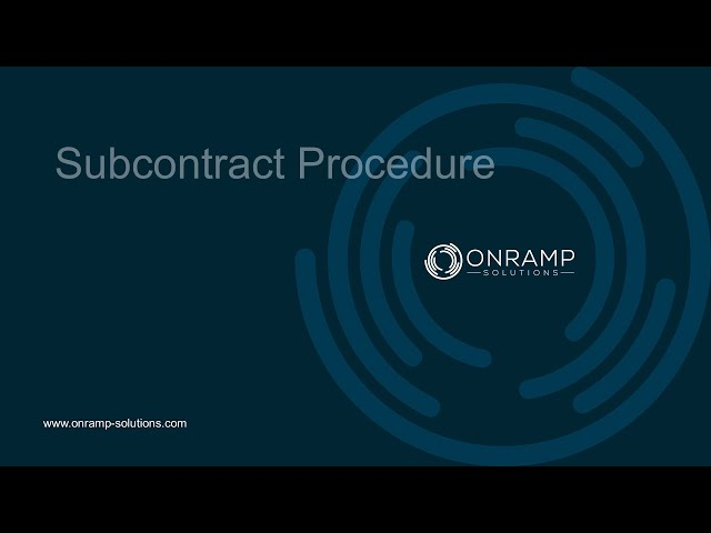 OnRamp Subcontracting Operations