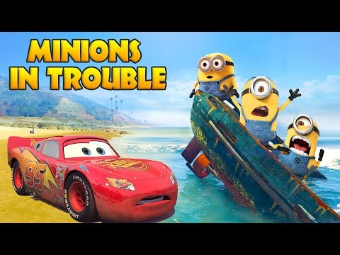 Thumbnail: LIGHTNING MCQUEEN SAVES MINIONS IN TROUBLE w/ Spiderman and Hulk Funny Cartoon for Kids