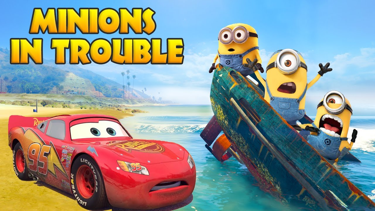 LIGHTNING MCQUEEN SAVES MINIONS IN TROUBLE w/ Spiderman and Hulk Humorous Cartoon for Youngsters