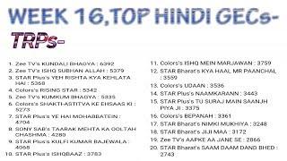 Top Hindi Tv Shows | barc trp ratings | Week 16