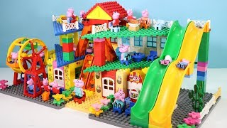 Peppa Pig Family Lego House Creations With Water Slide Toys #3