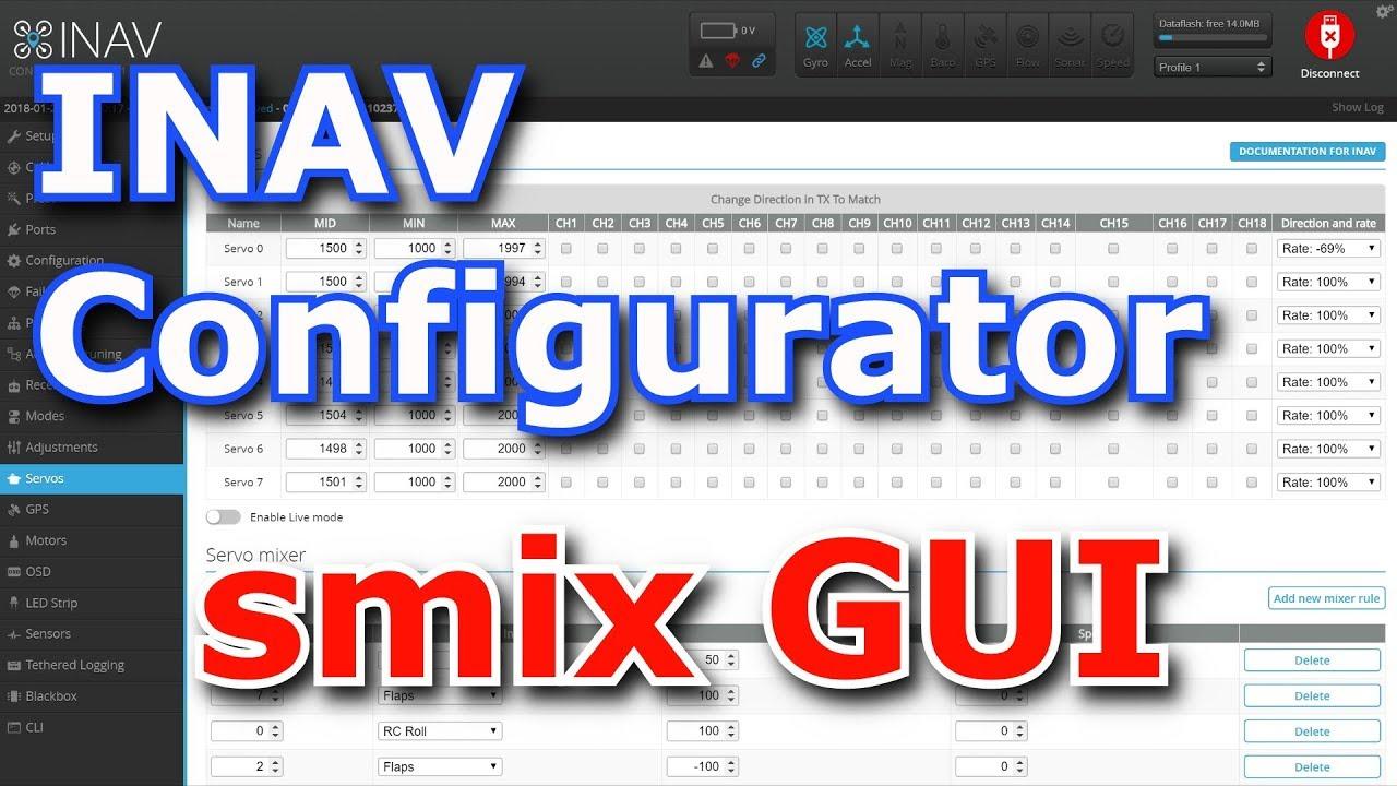 INAV Configurator Servo Mixer GUI - simply manage smix rules