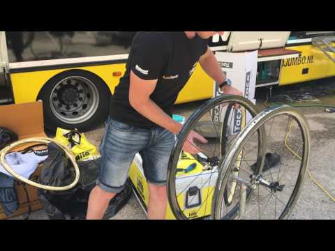Lotto NL-Jumbo Team Mechanic mounts Corsa Tubular at Giro