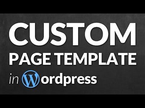 Custom template page wordpress