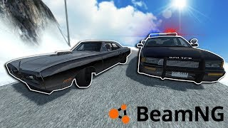 EXTREME RACES & POLICE CHASE ON A MOUNTAIN! - BeamNG Gameplay & Crashes - Car Crash Game