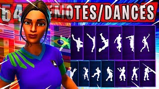 "Fortnite NEW ""POISED PLAYMAKER"" Skin Showcased with 54 Dances/Emotes (New RED CARD Emote) WORLDCUP"