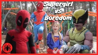 Little Supergirl vs Boredom, Spiderman In Real Life, Kid Deadpool, Wolverine | Superhero Kids Videos
