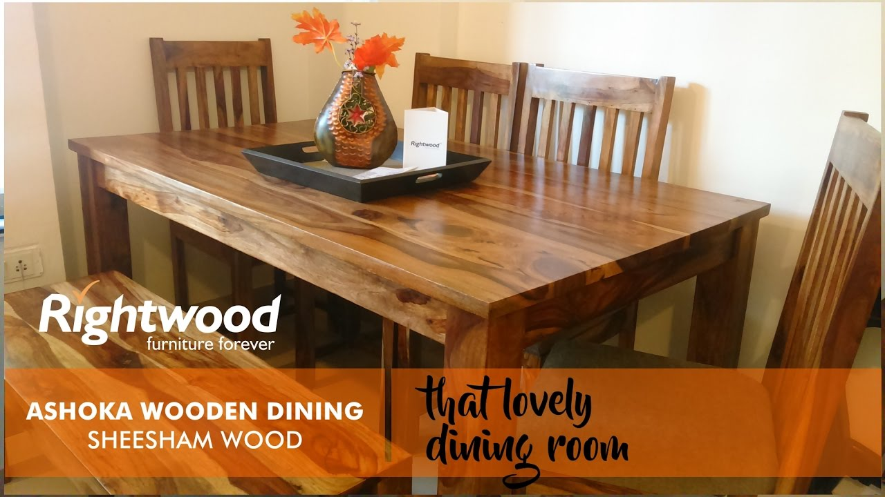 Wooden Dining Table DESIGN With Bench ASHOKA. Online Furniture By Rightwood.