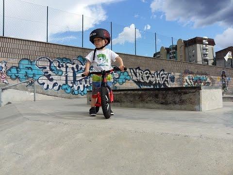 Leonard little biker in skatepark