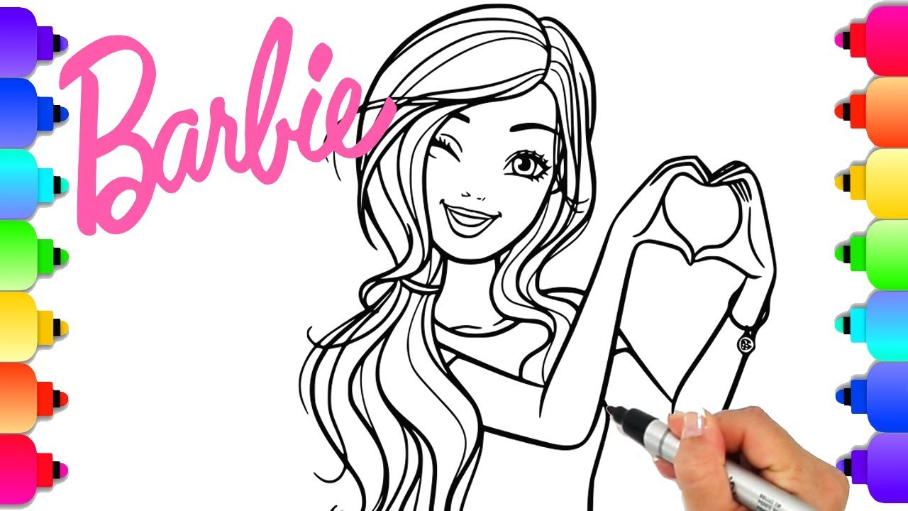 Barbie Drawing With Glitter And Sparkles