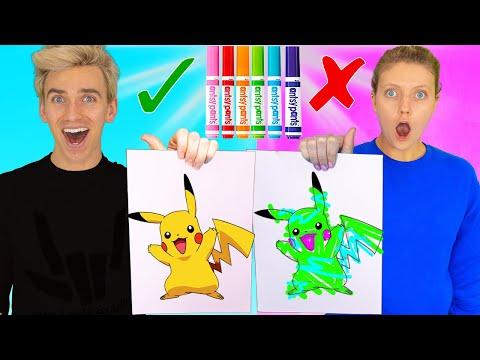 3 Marker Challenge Sis VS Bro!! (Learn How to Draw: Pokemon, Dumbo, Frozen 2) Best DIY Wins $10,000