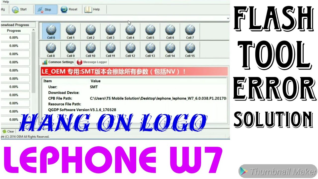 Lephone w7 Flashing | hang on logo | with Flash File & Flash tool