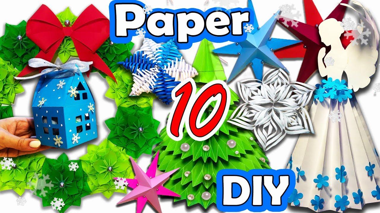 10 DIY Easy paper Christmas home decorating ideas 2021 / 10 НОВОГОДНИХ ПОДЕЛОК ИЗ БУМАГИ 2021