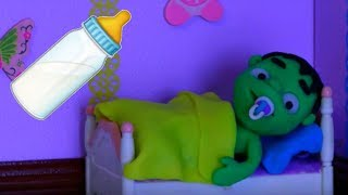 BABY HULK GOES TO BED ❤ Spiderman, Hulk & Frozen Play Doh Cartoons For Kids