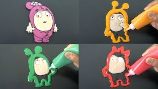 Oddbods Newt, Slick, Zee, Fuse | Colorful Pancake Art for Kids